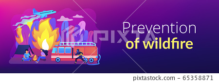 Prevention of wildfire concept banner header. 65358871
