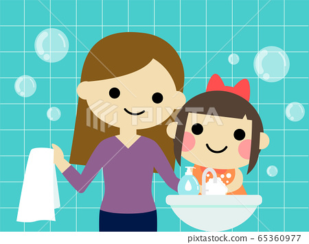 a little girl is washing hand with mommy cartoon 65360977