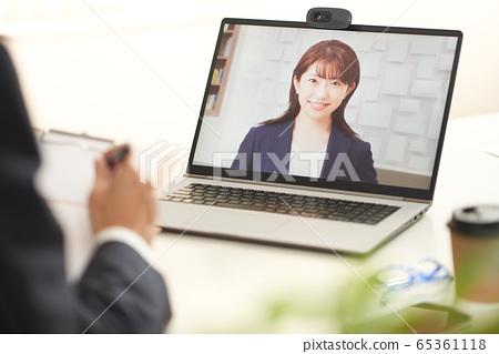在線會議的在線面試圖片 65361118