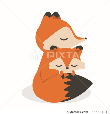 Cute Little Fox Mother And Baby Cartoon Stock Illustration 65362401 Pixta