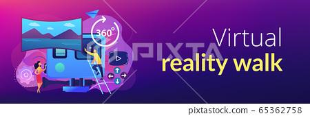 Virtual tour concept banner header. 65362758