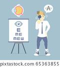 man with eye checkup, eyeball anatomy, shortsighted, nearsighted, longsighted, farsighted, hyperopia and myopia, eyesight examination concept 65363855
