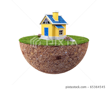 Floating land with small house and lawn isolated on white background, 3d rendering 65364545