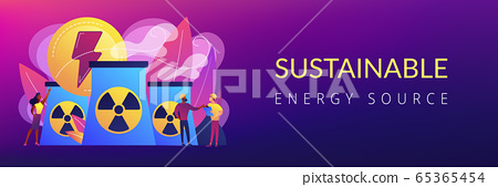 Nuclear energy concept banner header. 65365454
