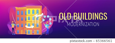 Old buildings modernization concept banner header 65366561