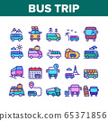 Bus Trip And Travel Collection Icons Set Vector 65371856