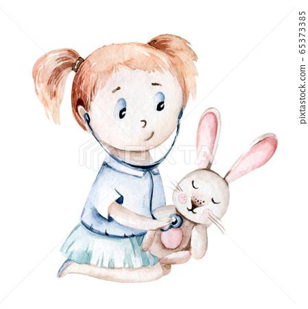 Cute cartoon baby girl nurse and a patient bunny. Little doctor. pediatrics kids girl. pills, ambulance, mask, bacteria, viruses, coronavirus. Watercolor hand drawn girl doctor set 65373385