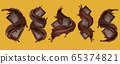 Chocolate bar with splashing and chocolate liquid. Pieces of chocolate, with drops. 3d illustration 65374821