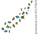 Flying colorful butterflies isolated on white background. 3D realistic beautiful butterflies. Biology. Beautiful illustration. 65374824