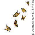 Orange beautiful flying butterflies isolated on transparent background. Monarch butterflies in Motion.3d illustration. 65374836
