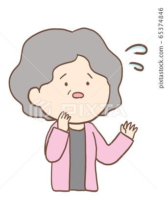 노인 여성의 표정 초조해 65374846