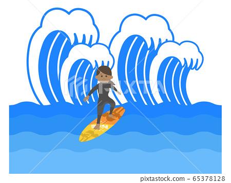 서핑을하는 여자 일러스트 65378128