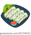 Fresh spring roll vector illustration. 65379451