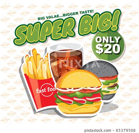 Fast food banner set, tasty set fast food vector. 65379508