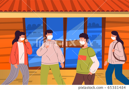 People wearing face medical mask walking to shop during virus pandemia, vector illustration 65381484