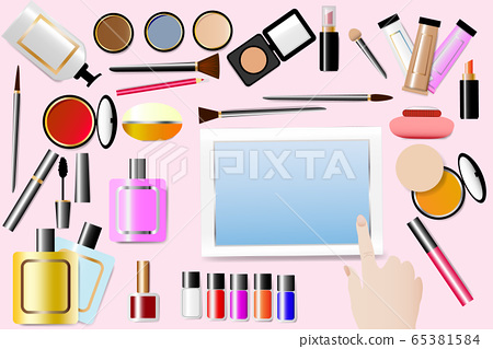 Cosmetic accessories are around a tablet with blue 65381584