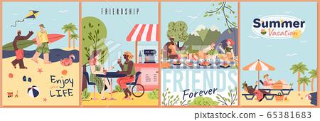 Summer vacation poster set - cartoon friends on tropical beach 65381683