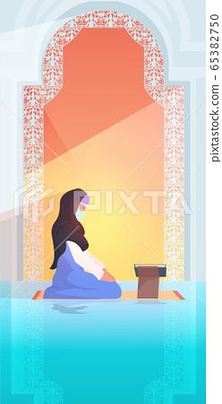 religious muslim woman praying reading quran during ramadan kareem holy month religion concept 65382750