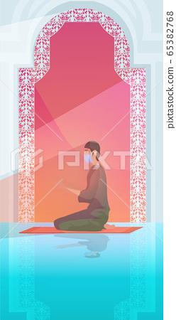 muslim man in mask praying ramadan kareem holy month religion coronavirus pandemic quarantine 65382768