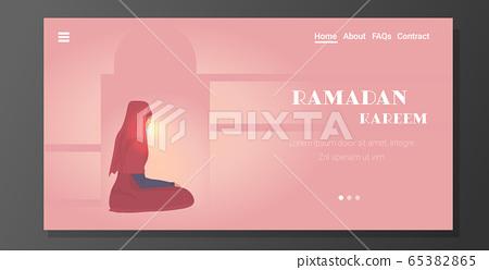 religious muslim woman praying ramadan kareem holy month religion concept 65382865