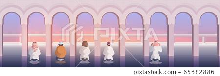 religious muslim men praying ramadan kareem holy month religion concept 65382886