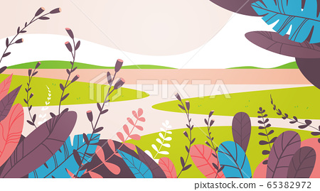 beautiful landscape with flowers and leaves floral spring poster horizontal greeting card 65382972
