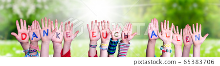 Kids Hands Holding Word Danke Euch Allen Means 65383706