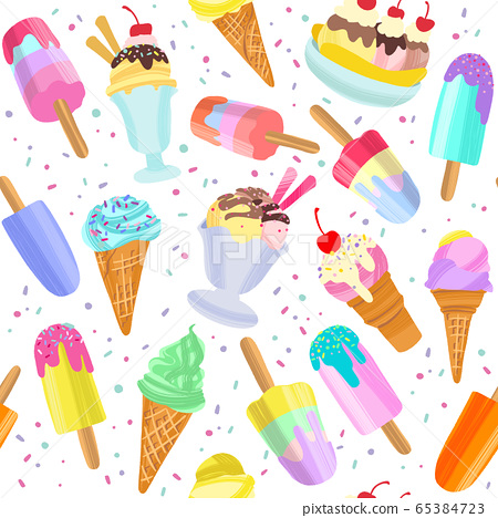 Ice Cream Background Summer Dessert Seamless Stock Illustration 65384723 Pixta