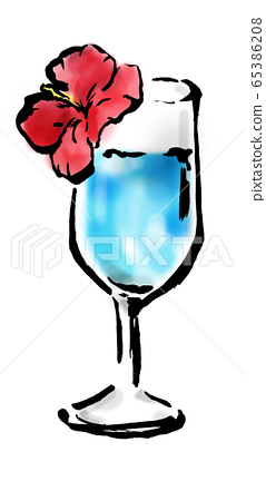Cocktail, blue, blue, blue hawaii, tropical, hawaii, white background, tropical, hibiscus, light blue, summer, 65386208