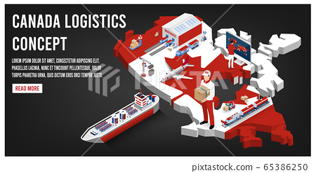 Modern isometric concept of Canada transportation with Global Logistics, Warehouse Logistics, Sea Freight Logistics.  Easy to edit and customize. Vector illustration 65386250