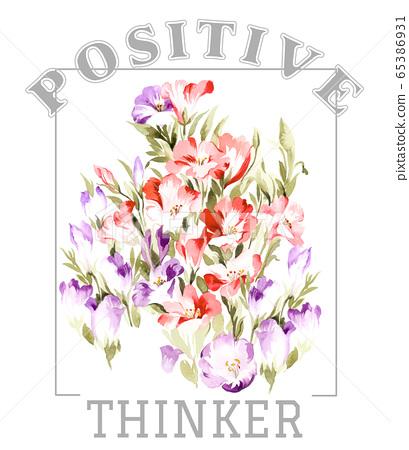 色彩豐富的花卉素材組合和設計元素 65386931