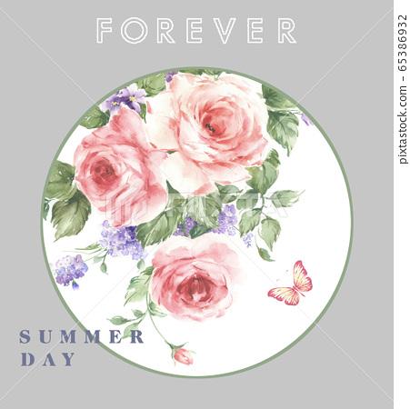 色彩豐富的花卉素材組合和設計元素 65386932