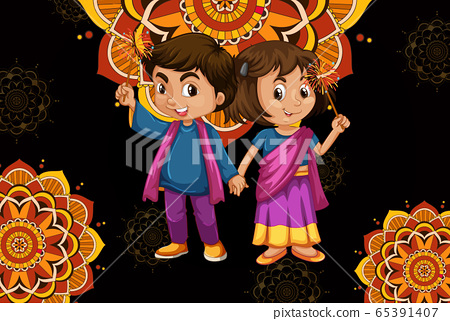 Background design with happy kids and mandala 65391407