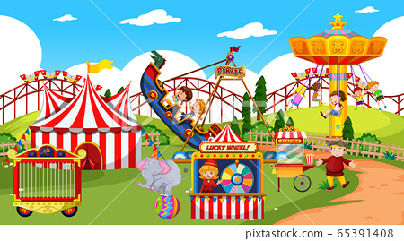 Themepark scene with many rides and happy children 65391408