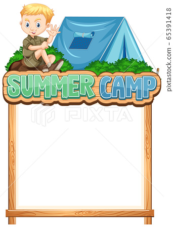 Border template design with boy at summer camp 65391418