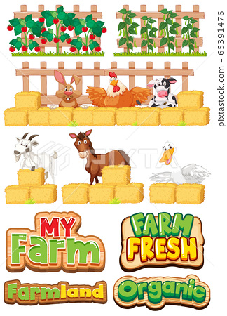 Set of font design for farm and many farm animals 65391476