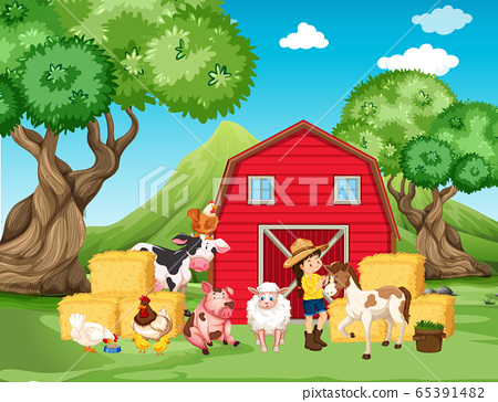 Farm scene with farmer and many animals on the 65391482