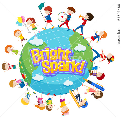 Word design for bright spark with many kids around 65391488