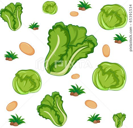Seamless pattern with cute vegetable on white 65391534