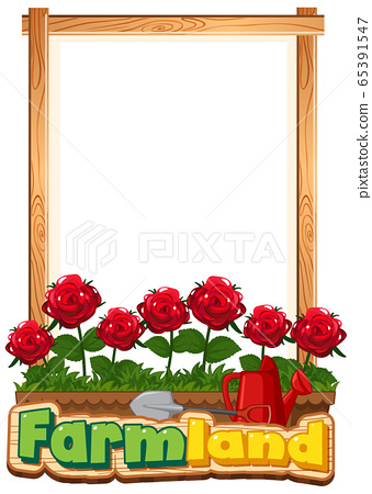 Border template design with red roses in the 65391547