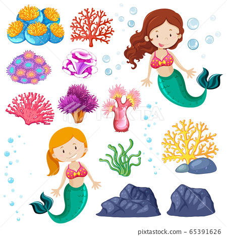 Set of cute mermaid and sea theme 65391626