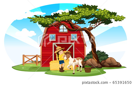 Farm scene with farmer and pony on the farm 65391650
