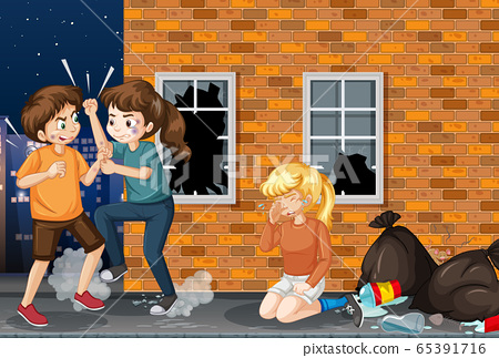 Scene with people fighting on the street at night 65391716