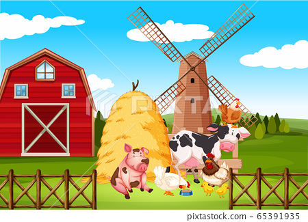 Farm scene with many animals on the farm 65391935