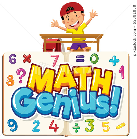Font design for word math genius with boy and 65391939