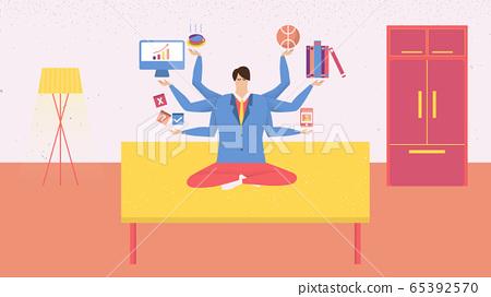 Businessman have a meditation on desk for better work-life balance 65392570
