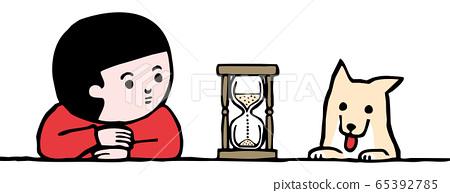 모래 시계를 바라 보는 소년과 개 (컬러) 65392785