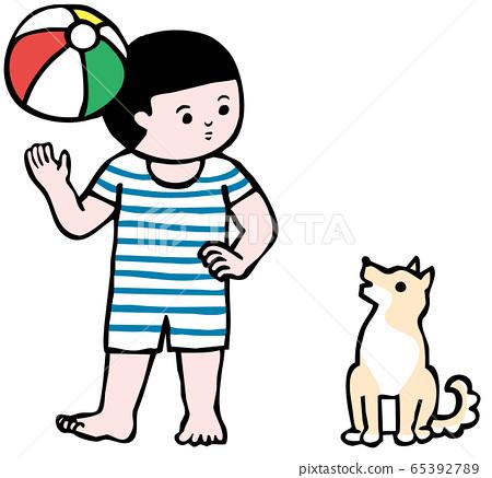 沙灘球,男孩和狗(顏色) 65392789
