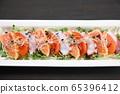 三文魚和章魚生牛肉片 65396412