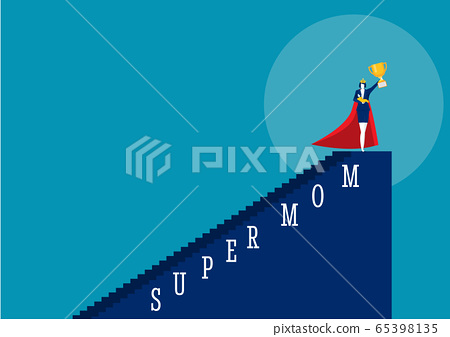 Hero woman mother doing office work and homework alone. super mom vector illustrator 65398135
